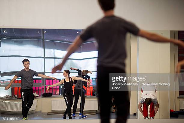 Laurence Fournier Beaudry and Nikolaj Sorensen of Denmark warm up prior to Ice Dance Free Dance on day two of the Rostelecom Cup ISU Grand Prix of...