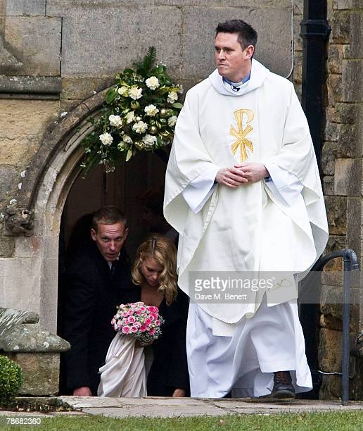 Laurence Fox and Billie Piper leave the Parish Church of St. Mary after their wedding on December 31, 2007 in Easebourne, West Sussex, England.