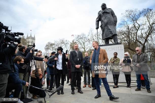 Laurence Fox launches his manifesto for his bid to become the Mayor of London while standing in front of a statue of former British Prime Minister...