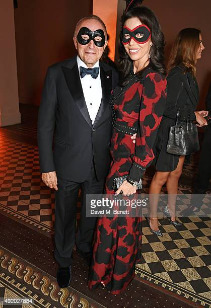Laurence Graff and Josephine Daniel attend Eva Cavalli's birthday dinner party at One Mayfair on October 9 2015 in London England