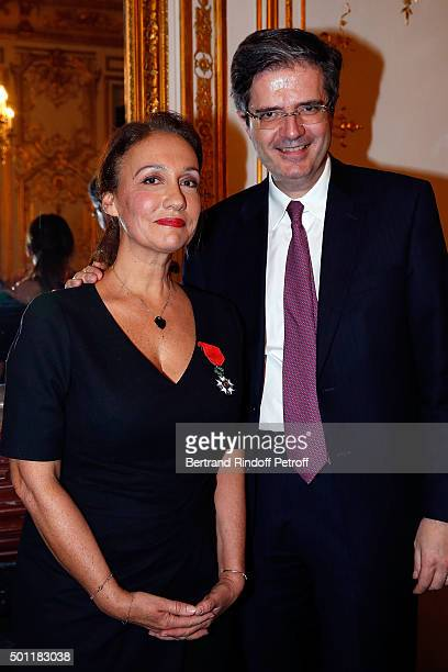 Laurence Haim and French Ambasssador at ONU Francois Delattre at Laurence Haim Is Honoured With The Insignes De Chevalier De La Legion D'Honneur at...