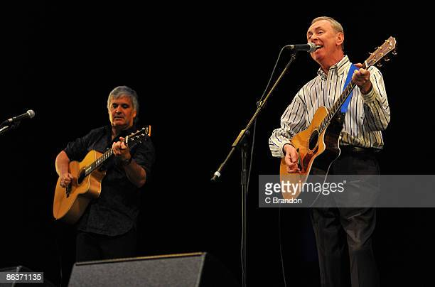 Laurence Juber and Al Stewart perform on stage at the Lyceum Theatre on May 4 2009 in London England