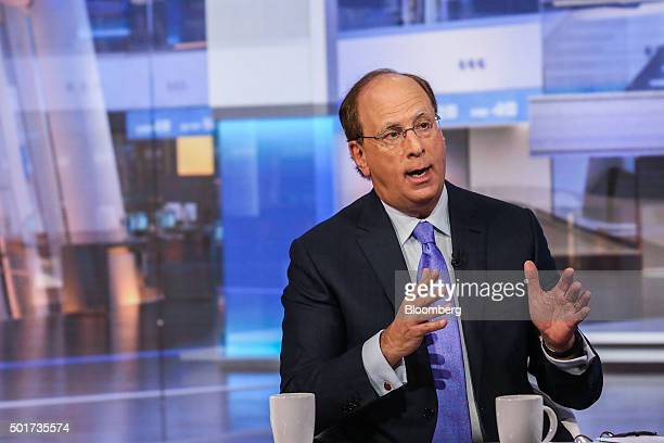Laurence Larry Fink chairman and chief executive officer of BlackRock Inc speaks during a Bloomberg Television interview in New York US on Thursday...