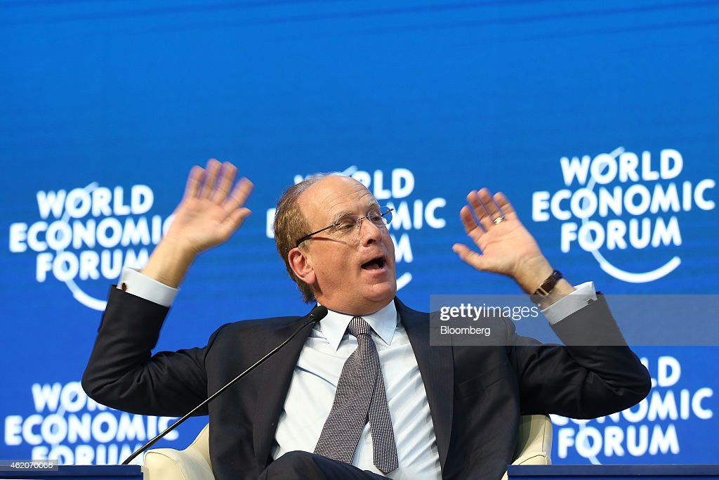 Laurence 'Larry' Fink, chief executive of BlackRock Inc., gestures as he speaks during a session on the final day of the World Economic Forum (WEF) in Davos, Switzerland, on Saturday, Jan. 24, 2015. World leaders, influential executives, bankers and policy makers attend the 45th annual meeting of the World Economic Forum in Davos from Jan. 21-24. Photographer: Simon Dawson/Bloomberg via Getty Images