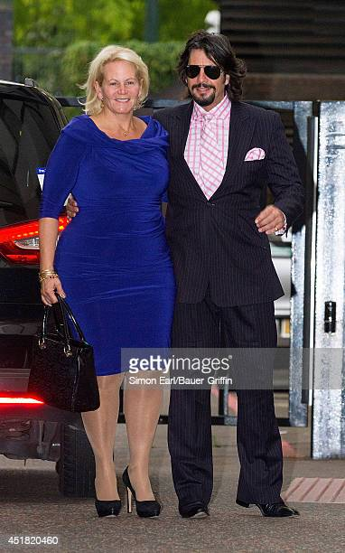 Laurence Llewelyn Bowen and his wife Jackie Llewelyn Bowen are seen on September 06 2013 in London United Kingdom
