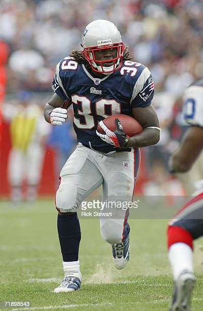 Laurence Maroney of the New England Patriots runs the ball for yardage against the Buffalo Bills on September 10, 2006 at Gillette Stadium in...