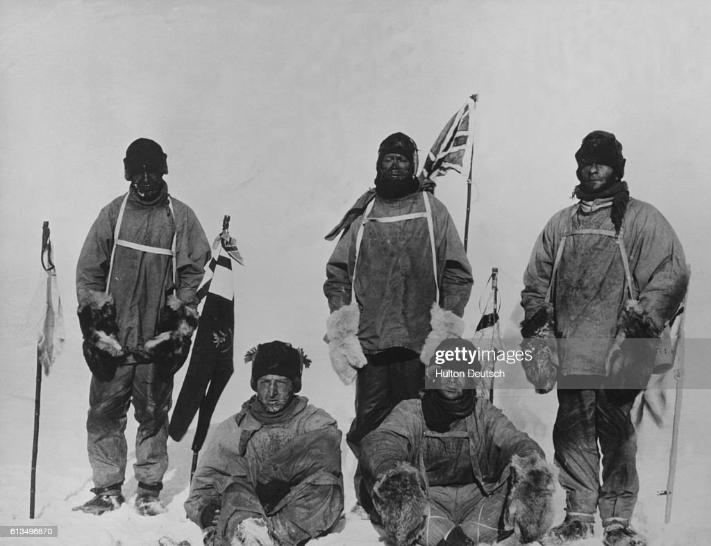 Laurence Oates, H.R. Bowers, Robert F. Scott, Edward A. Wilson and Edgar Evans at the south south pole. A destination they reached a month after Amundsen's party. All five men died on the way back.