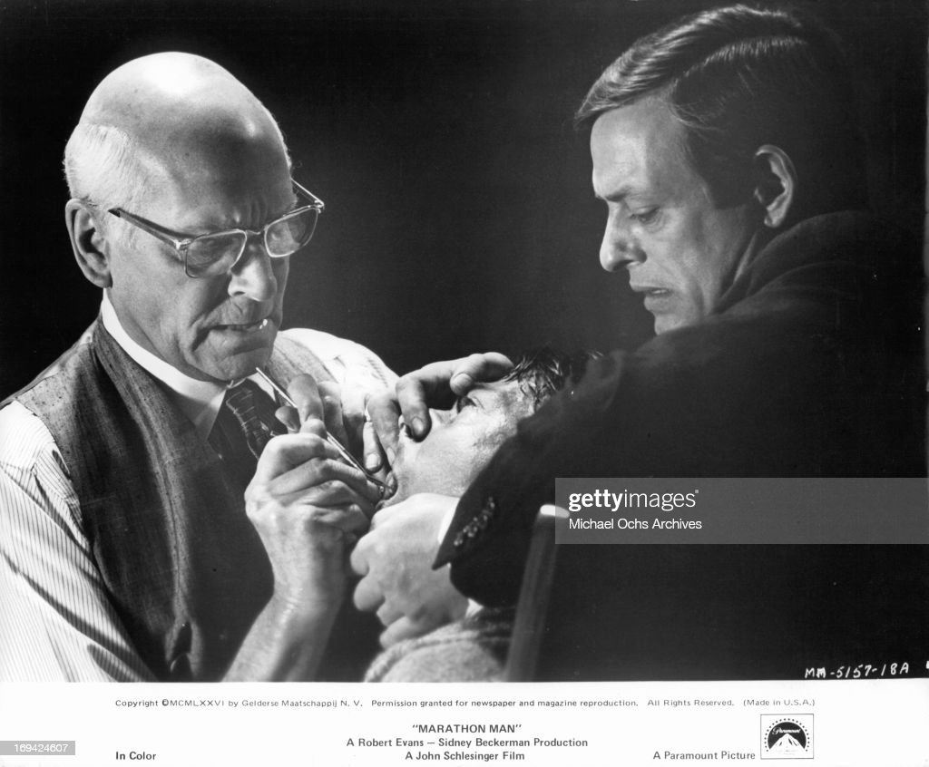 Laurence olivier and dustin hoffman in marathon man pictures laurence olivier applying horrendous dental procedure on dustin hoffman in a scene from the film thecheapjerseys Images