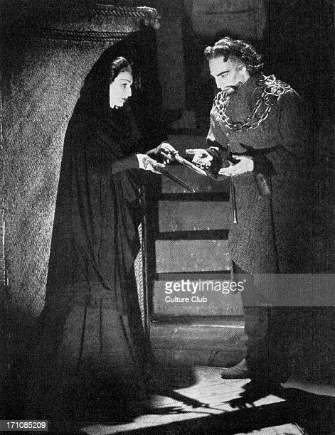 Laurence Olivier as Macbeth and Judith Anderson as Lady Macbeth after the murder of Banquo in Shakespeare's tragedy produced by Michael SaintDenis at...