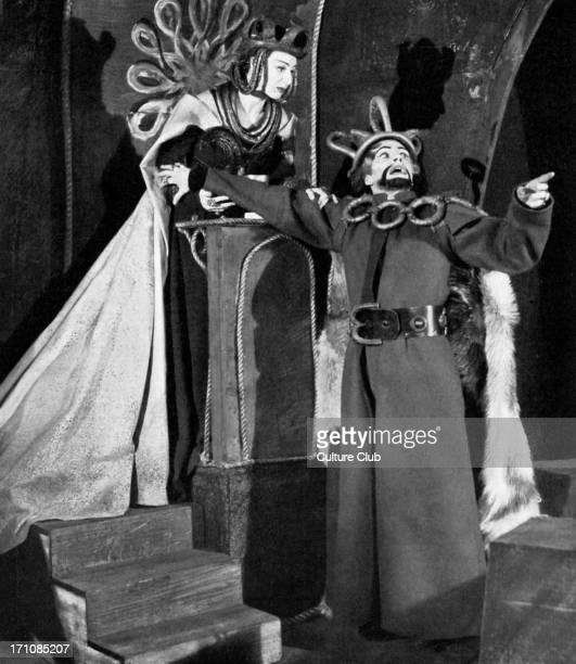 Laurence Olivier as Macbeth and Judith Anderson as Lady Macbeth in Shakespeare's tragedy produced by Michael SaintDenis at the Old Vic 1937/8 LO 22...