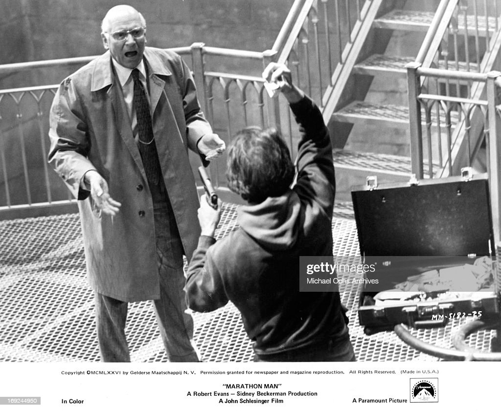 Laurence olivier and dustin hoffman in marathon man pictures laurence olivier is threatened by dustin hoffman in a scene from the film marathon man thecheapjerseys Images