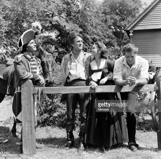 Laurence Olivier Kirk Douglas Janette Scott and Burt Lancaster on the set of 'The Devil's Disciple' in Tring Park Hertfordshire 30th July 1958