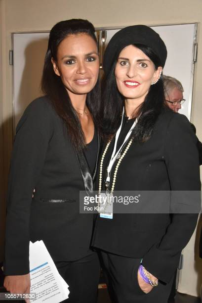 Laurence Roustandje and Sylvie Ortega Munos attend the Backstage Cocktail of 'Salon Du Chocolat 2018 Chocolate Fair' Auction Show in Benefit of...