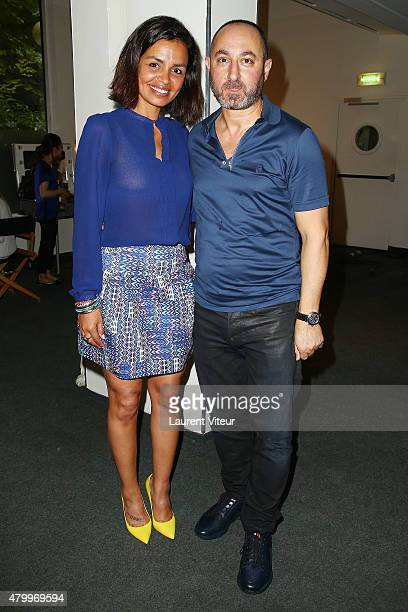 Laurence Roustandjee and Designer Dany Atrache attend the Danny Atrache show as part of Paris Fashion Week Haute Couture Fall/Winter 2015/2016 on...