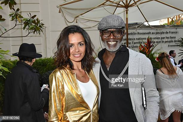 Laurence Roustandjee and Eriq Ebouaney attend Villa Schweppes Party at Hotel Le Marois on April 21 2016 in Paris France
