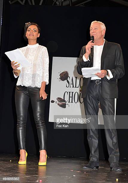 Laurence Roustandjee and Laurent Boyer attend the 'Salon Du Chocolat 2015 Chocolate Fair ' Auction Show in Benefit to Mecenat Chirurgie Cardiaque At...