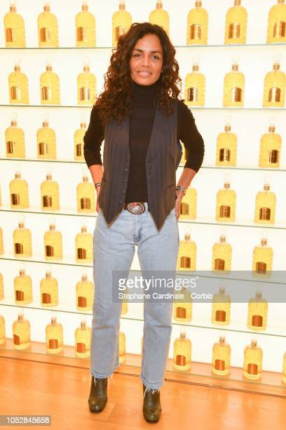 Laurence Roustandjee attends the Le Coq Sportif x Guerlain launch collection at Maison Guerlain on ChampsElysees Avenue on October 23 2018 in Paris...
