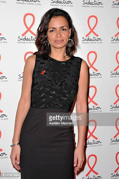 Laurence Roustandjee attends the Sidaction 2016 Launch party photocall at Musee du Quai Branly on March 7 2016 in Paris France