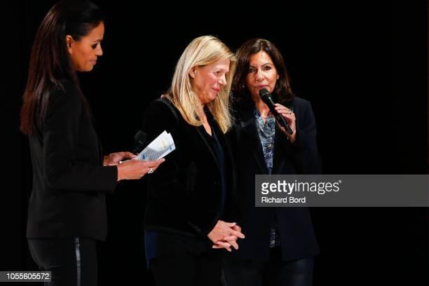 Laurence Roustandjee Sylvie Douce and Anne Hidalgo speak during during 'Salon Du Chocolat Paris 2018' at Parc des Expositions Porte de Versailles on...
