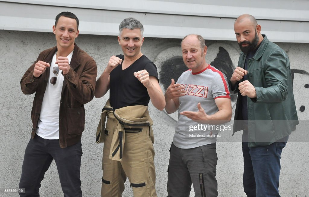 Laurence Rupp, Stefan Lukacs, Roland Dueringer and Anton Noori pose during a set visit for 'Cops' at Dusika Stadion on August 22, 2017 in Vienna, Austria.
