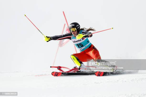 Laurence St-germain of Canada competes during the Audi FIS Alpine Ski World Cup Women's Parallel Slalom on December 15, 2019 in St Moritz Switzerland.