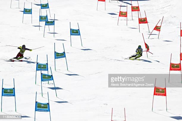 Laurence St-germain of Canada competes, Mireia Gutierrez of Andorra competes during the Audi FIS Alpine Ski World Cup Men's and Women's Alpine Team...