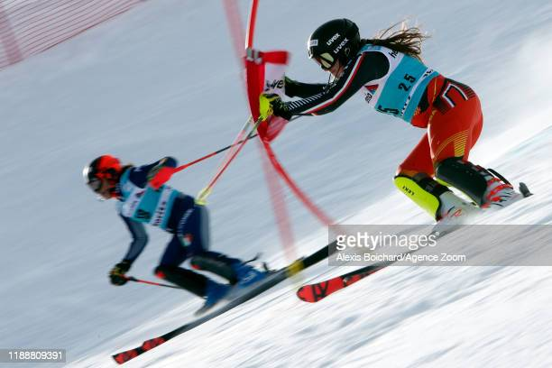Laurence Stgermain of Canada Federica Brignone of Italy compete during the Audi FIS Alpine Ski World Cup Women's Parallel Slalom on December 15 2019...