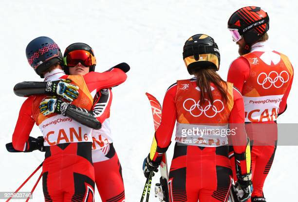 Laurence St.Germain of Canada reacta with team mates after her run during the Alpine Team Event on day 15 of the PyeongChang 2018 Winter Olympic...