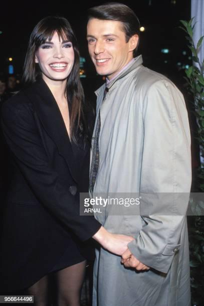 Laurence Treil et Lambert Wilson lors d'une soirée en janvier 1989 à Paris France