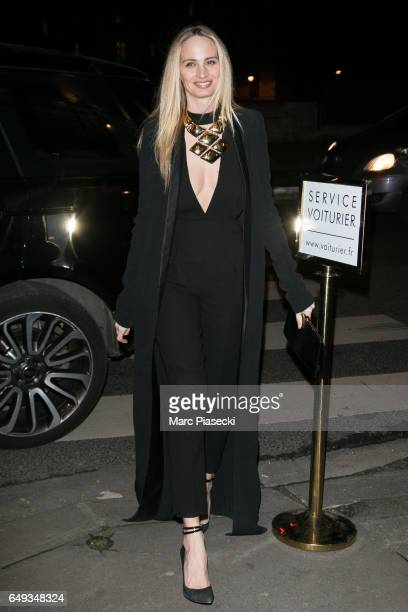 Laurene Santo Domingo arrives to attend the 'V Magazine' dinner at Laperouse restaurant on March 7 2017 in Paris France