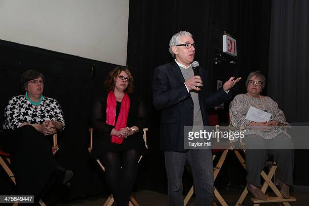 Laurene Transue Hilary Transue director Robert May and actress Kathy Bates attend the Kids For Cash screening at AMC Village 7 on February 28 2014 in...