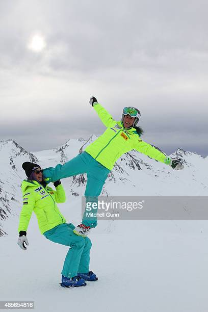 Laurenne Ross and Stacey Cook during the US Ski team's photoshoot on March 09 2015 in Soelden Austria