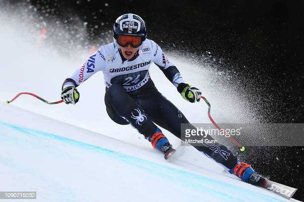 Laurenne Ross of the United States competes during the Audi FIS Alpine Ski World Cup Women's Downhill on January 27 2019 at Garmisch-Partenkirchen,...
