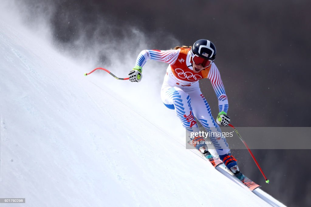 Laurenne Ross of the United States competes during the Ladies' Downhill on day 12 of the PyeongChang 2018 Winter Olympic Games at Jeongseon Alpine Centre on February 21, 2018 in Pyeongchang-gun, South Korea.