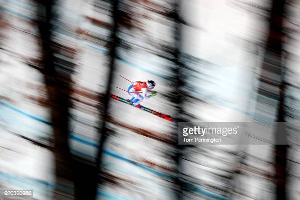 Laurenne Ross of the United States makes a run during Alpine Skiing Ladies' Downhill Training on day 10 of the PyeongChang 2018 Winter Olympic Games...