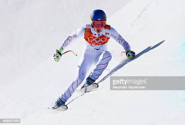 Laurenne Ross of the United States skis during the Alpine Skiing Women's Downhill on day 5 of the Sochi 2014 Winter Olympics at Rosa Khutor Alpine...