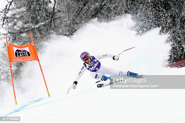 Laurenne Ross of the USA competes during the Audi FIS Alpine Ski World Cup Women's Downhill Training on February 18 2016 in La Thuile Italy