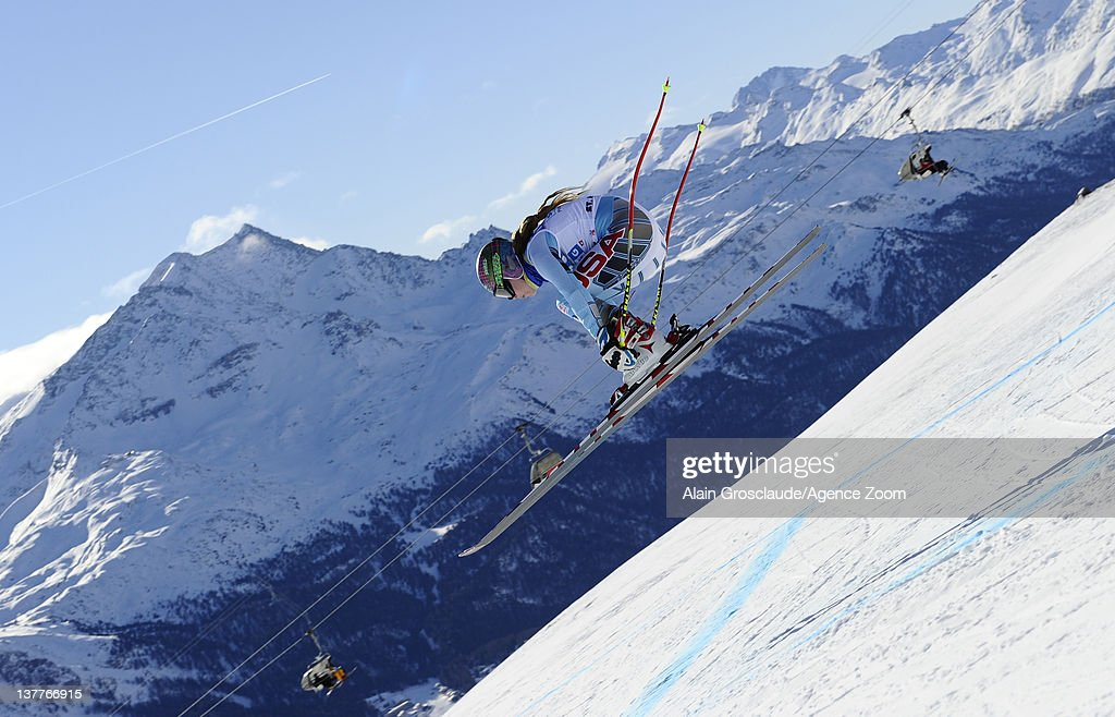 Laurenne Ross of the USA skis during the Audi FIS Alpine Ski World Cup Women's Downhill Training on January 26, 2012 in St.Moritz, Switzerland.