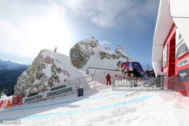 Laurenne Ross of USA at the start during the Audi FIS Alpine Ski World Cup Women's Downhill Training on January 18 2018 in Cortina d'Ampezzo Italy