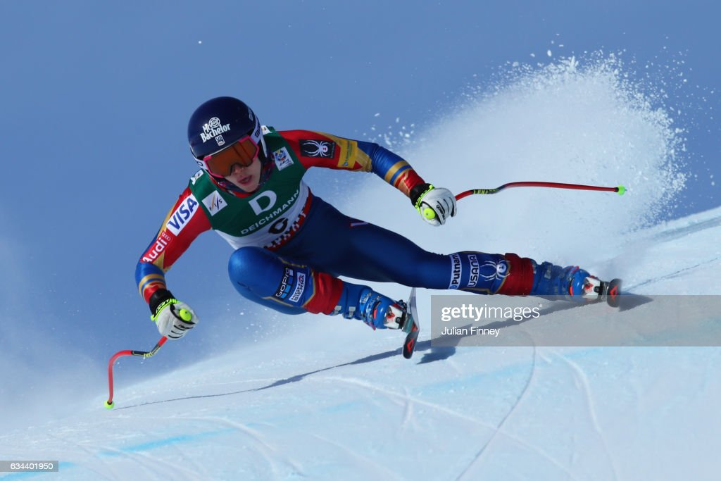 Laurenne Ross of USA competes in the Ladies Downhill training on February 9, 2017 in St Moritz, Switzerland.