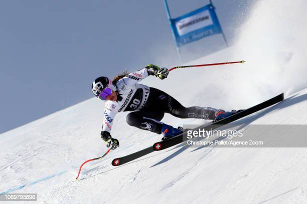 Laurenne Ross of USA in action during the Audi FIS Alpine Ski World Cup Women's Super G on December 8 2018 in St Moritz Switzerland