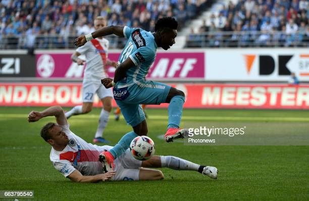 Laurens De Bock defender of Club Brugge and Samuel Kalu forward of KAA Gent pictured during play off 1 of Jupiler Pro League match between KAA Gent...