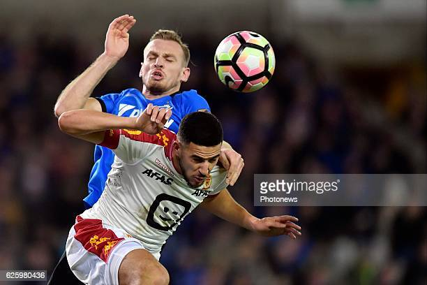 Laurens De Bock defender of Club Brugge battles for the ball with Ahmed El Messaoudi defender of KV Mechelen during the Jupiler Pro League match...