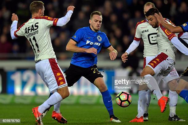 Laurens De Bock defender of Club Brugge battles for the ball with Uros Vitas of KV Mechelen during the Jupiler Pro League match between Club Brugge...