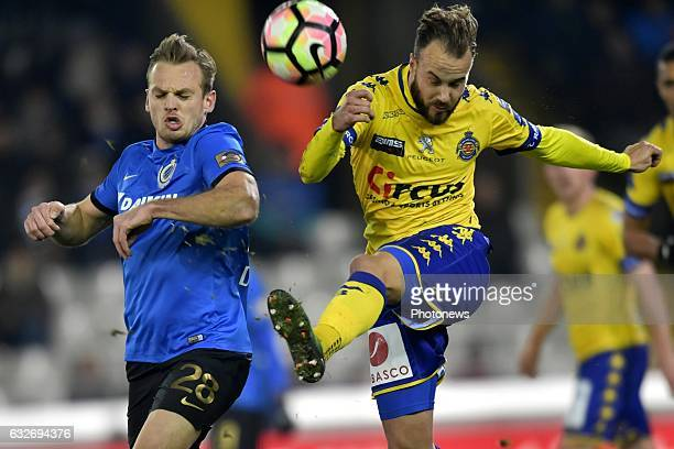 Laurens De Bock defender of Club Brugge battles for the ball with Francois Marquet midfielder of Beveren during the Jupiler Pro League match between...