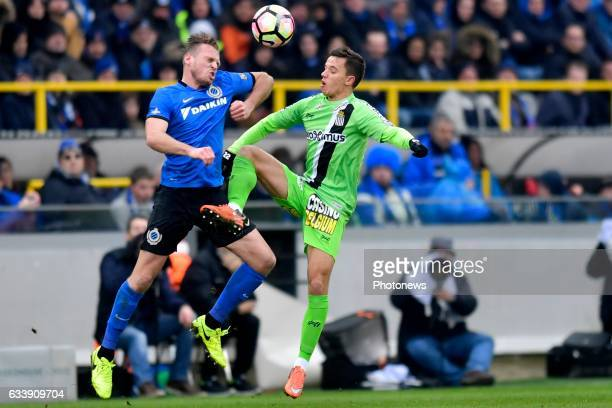 Laurens De Bock defender of Club Brugge battles for the ball with Gaetan Hendrickx midfielder of Sporting Charleroi during the Jupiler Pro League...