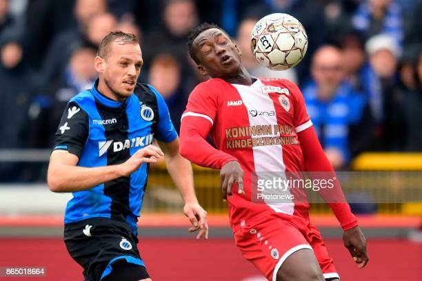 Laurens De Bock defender of Club Brugge battles for the ball with Mamoutou N'Diaye midfielder of Antwerp FC during the Jupiler Pro League match...