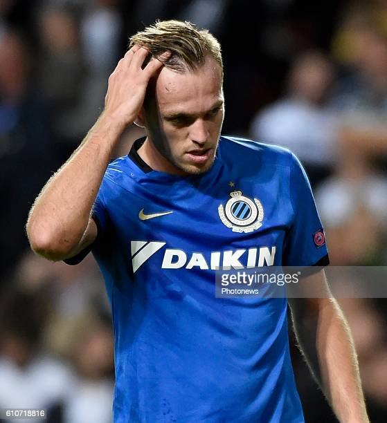 Laurens De Bock defender of Club Brugge disappointed defender of Club Brugge pictured during UEFA Champions League Group G stage match between Club...