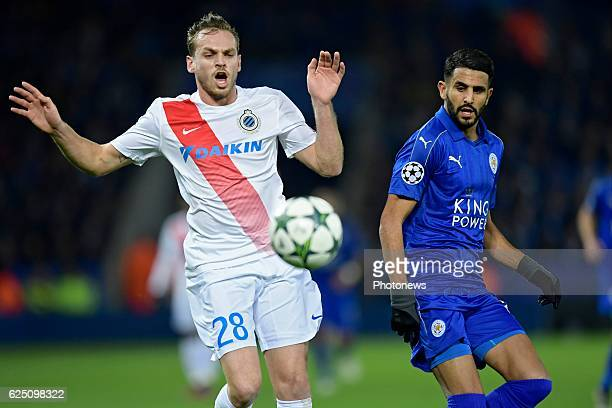 Laurens De Bock defender of Club Brugge in duel with Riyad Mahrez midfielder of Leicester City FC during the UEFA Champions League Group G stage...