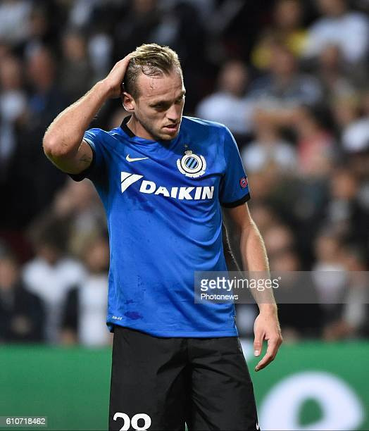 Laurens De Bock defender of Club Brugge looks dejected pictured during UEFA Champions League Group G stage match between Club Brugge and FC...